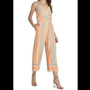 Willow & clay Vibrant Striped Linen Jumpsuit
